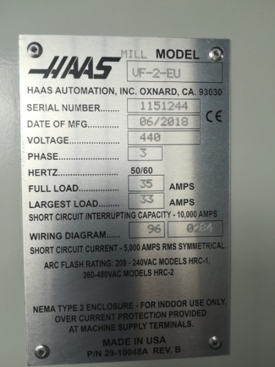 Фрезерный станок с ЧПУ HAAS VF-2 HE